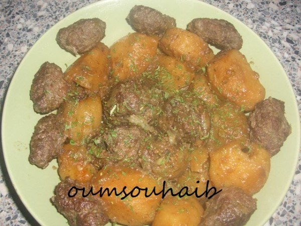 pomme de terre et coeur d'artichaut farcis patata karnoun