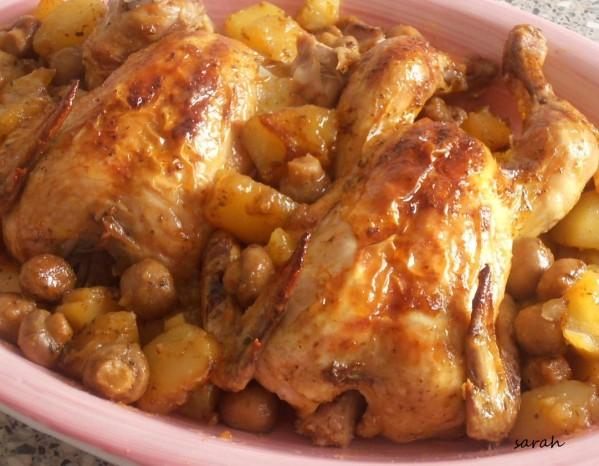 poulet r^ti champignons et pommes de terre