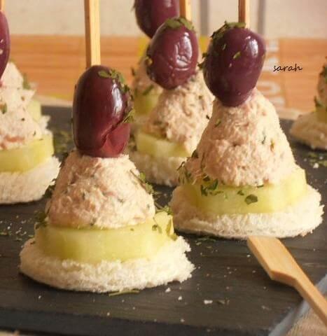 bouchées au thon vache qui rit et olives - mini bouchées apéritives au thon
