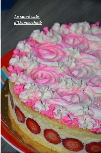 Fraisier crème diplomate façon roses cake