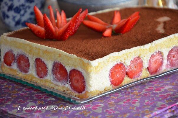 Gateau chocolat fraise mascarpone