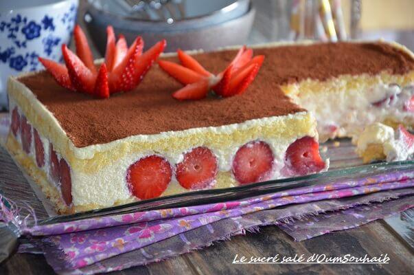 Tiramisu fraise gateau