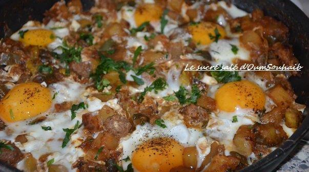 chakchouka aux oeuf et boulettes (kefta)