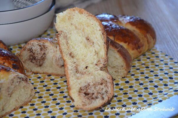 recette brioche moelleuse aux pepites de chocolat marbré