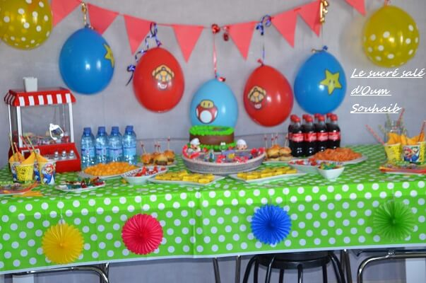 sweet table mario bross luigi buffet