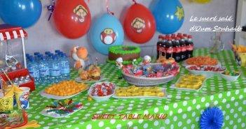 sweet table mario bross luigi buffet