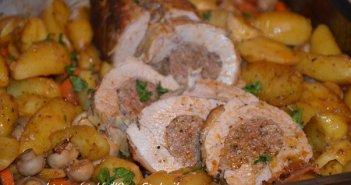 rôti de veau farci au four - roti de veau farci viande hachée - roti de veau pommes de terre champignons carottes