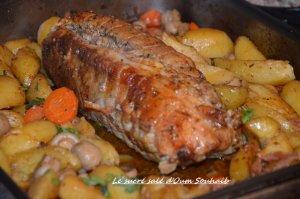 rôti de veau farci au four - roti de veau farci viande hachée - roti de veau pommes de terre champignons carottes. 1