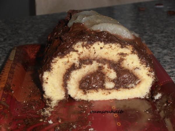 buche poire chocolat facile génoise inratable version roulée