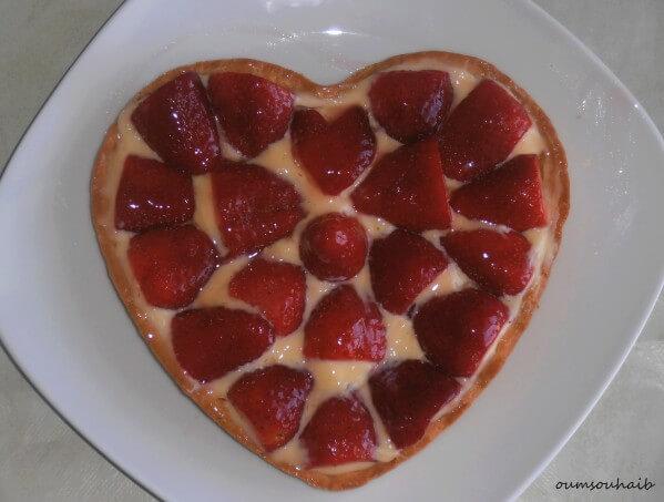 tarte aux fraises en coeur