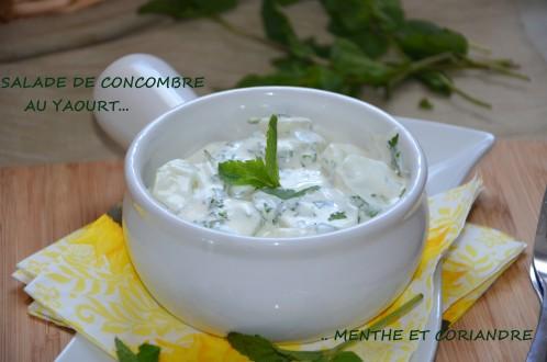 salade de concombre au yaourt menthe et coriandre