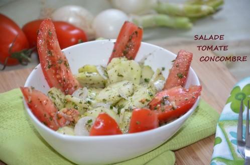 salade tomate concombre oignon menthe coriandre ciboulette