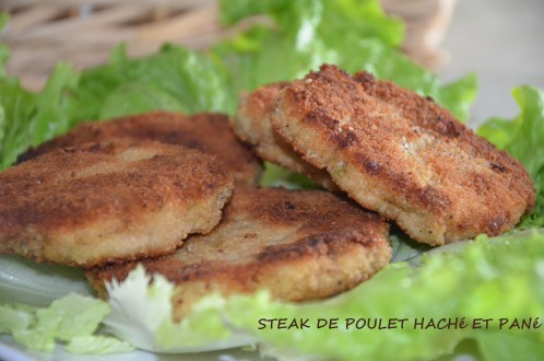 steak haché de poulet pané -steak de poulet maison- steak pané