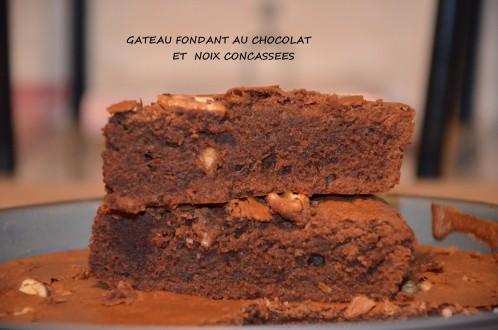 gâteau fondant au chocolat et noix concassées- fondant chocolat noix