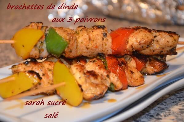brochettes de dinde aux poivrons marinées aux herbes