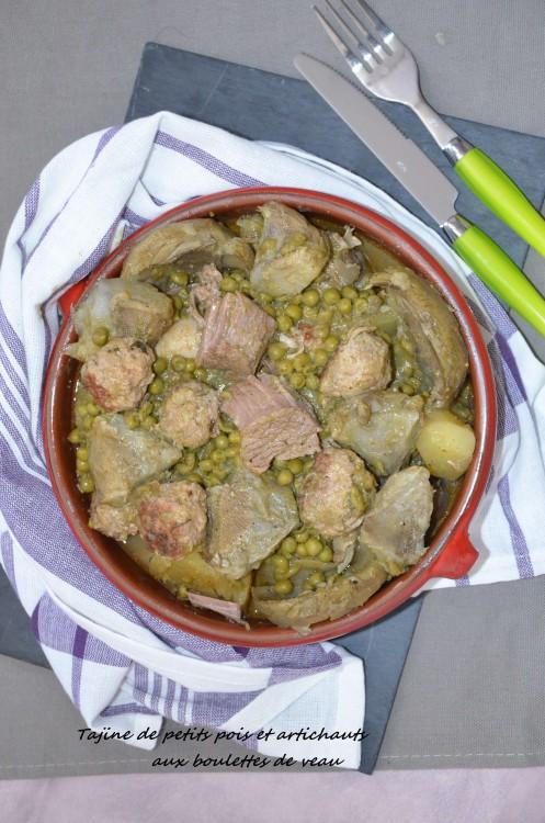 tajine petits pois artichaut aux bouelettes de veau