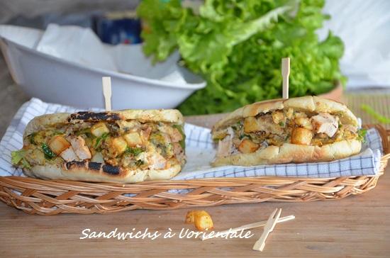 Sandwich frites omelette à l'orientale