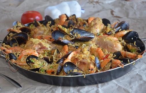 paella facile au poulet crevette et moule