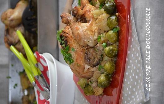 poulet rôti aux choux de Bruxelles