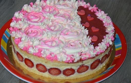 fraisier rose cake