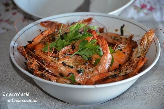 crevettes sautées au curry et gingembre