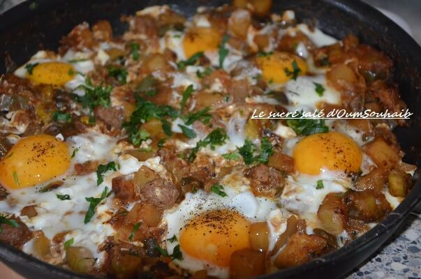 chakchouka aux oeufs et boulettes (kefta)