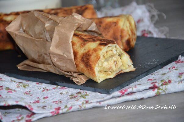 sandwich msemen au poulet et pommes de terre