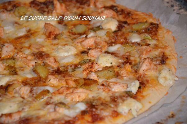 pizza poulet pomme de terre ail tym