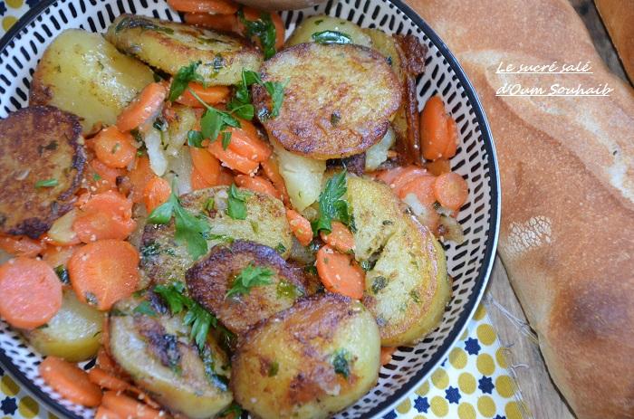 carottes et pommes de terre sautées à la poêle