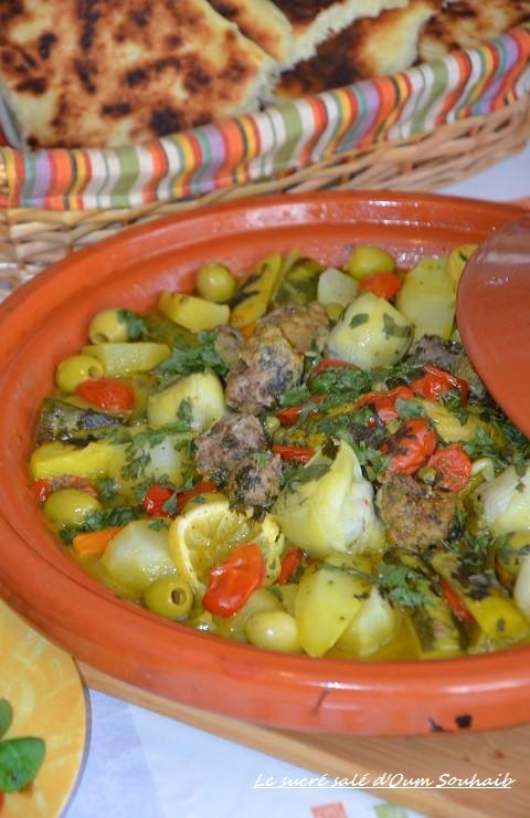 tajine de poulet aux légumes marocain boulettes de kefta et citron
