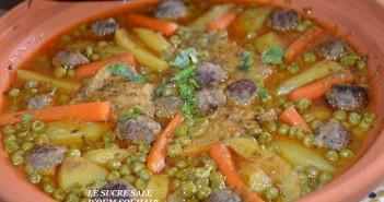 tajine kefta aux petit pois et pommes de terre carotte