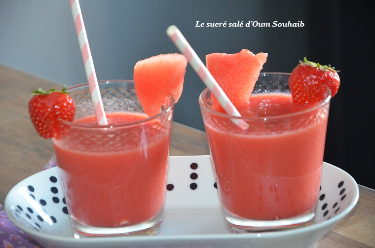 smoothie minceur fraise pastèque pomme