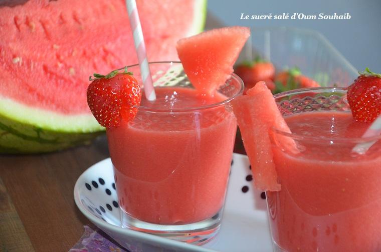 smoothie minceur fraise pasteque pomme