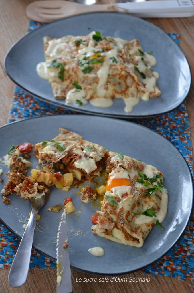 crepes-viande-hachee-poivrons-oeuf-fromage